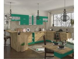 Кухня Шарлотта (Сокме) фото примеров оформления (абсент/дуб золотой)