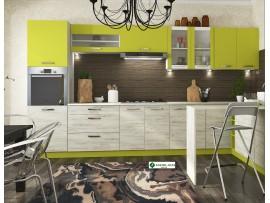Кухня Шарлотта (Сокме) фото примеров оформления (лайм / дуб белый)