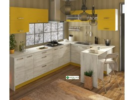 Кухня Шарлотта (Сокме) фото примеров оформления (желтый / дуб белый)
