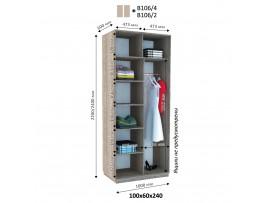 Шкаф-купе ДОМ (2 двери) В 106 (ширина 100см)