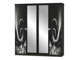 Спальня Ева (Мебель-Сервис) Шкаф 4д, цвет венге, белый