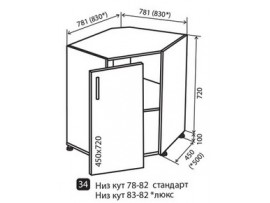 Кухня маХіма Низ №34  780-820 угол